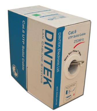 Cáp mạng CAT.6 S-FTP, 4 pair, 23 AWG, Bọc nhôm chống nhiễu từng đôi, bọc thêm lưới đồng ở ngoài, cuộn 305m trên rulo nhựa Dintek 1107-04001CH