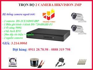 Trọn bộ 2 camera Hikvision 2MP ngoài trời Hồng Ngoại 20 mét