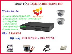 Trọn bộ 2 camera Hikvision 2MP lắp đặt trong nhà 20 mét