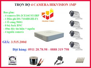 Trọn bộ 4 camera Hikvision 1MP ngoài trời 20m