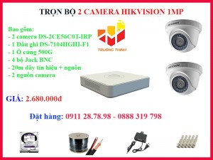 Trọn bộ 2 camera Hikvision 1MP giá chỉ có 2.680.000đ