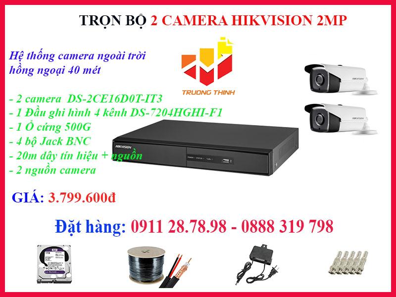 Trọn bộ 2 camera Hikvision 2MP ngoài trời hồng ngoại 40m