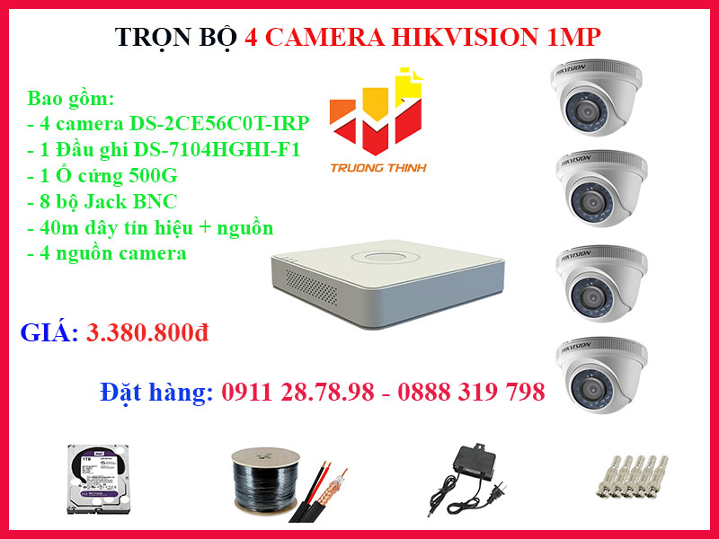 Trọn bộ 4 camera Hikvision 1MP trong nhà 20m